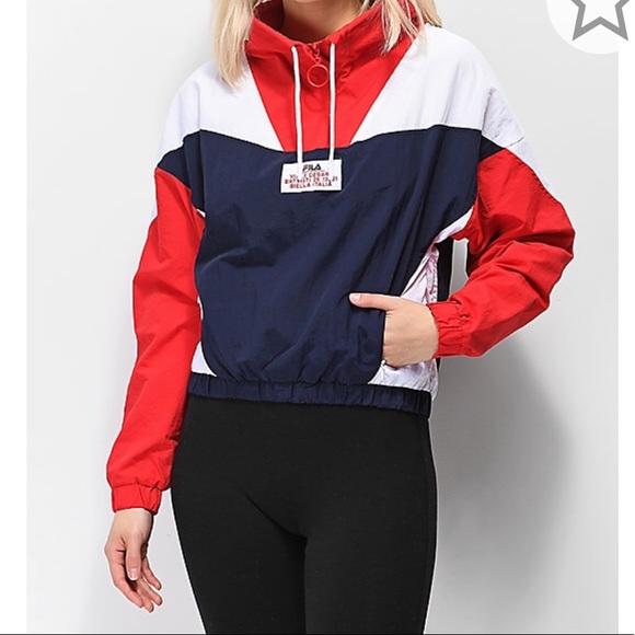 FILA Blue & Red Funnel Neck Windbreaker Jacket M